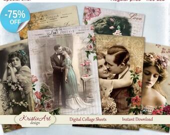 75% OFF SALE Digital Collage Sheet - Vintage women Printable Download, Digital cards C066, Altered Art, Atc Aceo size digital vintage image