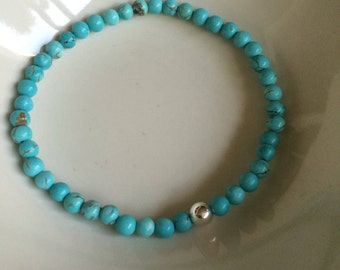 Turquoise gemstone bead stretch Bracelet - Sterling Silver - December Birthstone jewellery