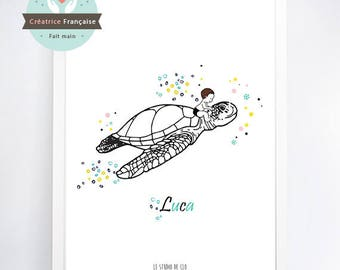 Turtle print - Name-child (sold without frame)
