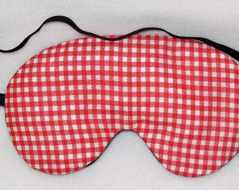 Handmade Red Gingham Eye Mask Blindfold Hen Stag Blackout Migraine Relief