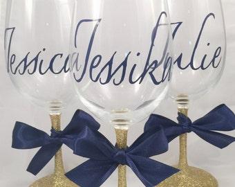 Bridesmaid Glitter Wine glass in gold - bridal party gifts - custom glitter wine glasses - bridesmaid wine glasses - bridal party glasses