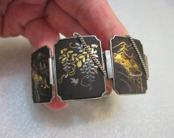 AMITA Japan Sterling Silver Bracelet Damascene Double Sided With Black, Silver & Gold Tones