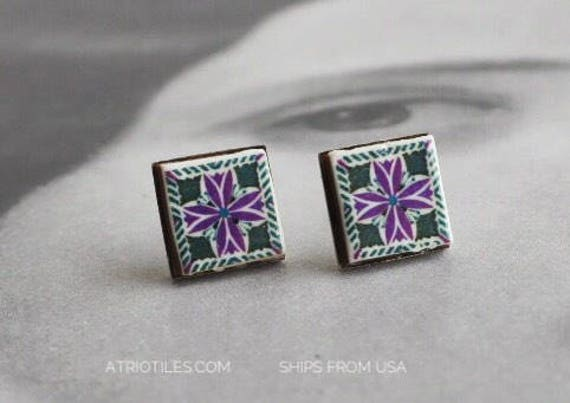 Stud Earrings Post Portugal Tile Pink Black Portuguese Azulejo Stainless Steel Posts -  Ships from USA  - Gift Box Included 294