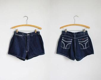 1980s high waisted dark blue denim shorts - Mizz Lizz - xs / s - x-small - small