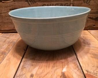 Vintage Light Blue Seville Pottery Mixing Bowl 9 inch USA