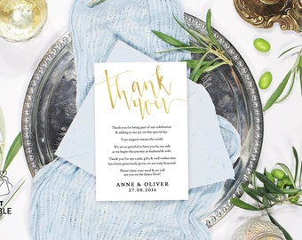 Gold thank you cards, Thank you card printable, Thank you card template, Editable pdf, Instant download, Thank you template printable