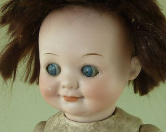 Large AM Armand Marseille 323 Googly Character German Bisque Doll Sleep Eyes