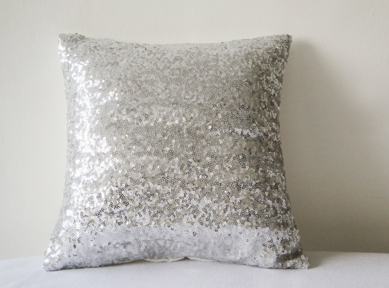 Shiny Silver Sequin Pillow Cover Silver Decorative Pillow