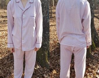 Vintage Pinstripe Pajama Set - Red White Striped Pajamas - PJs - Long Sleeve Button Down