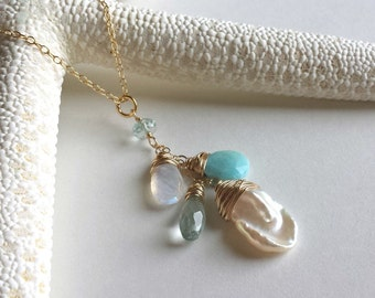 Pearl Gemstone Cluster Necklace, Pale Blue and White Necklace, Larimar Cluster Necklace, Cornflake Pearl Necklace