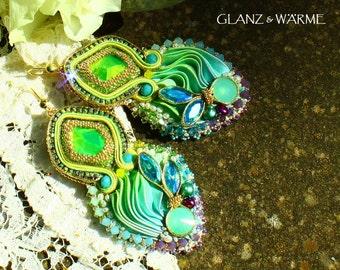 Magical earrings with shibori & Soutache