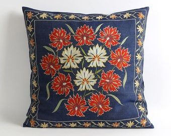 Designer navy blue throw pillows hand embroidery floral uzbek suzani pillows cover navy blue