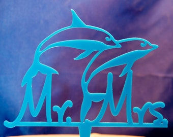 Dolphins Wedding Cake Topper - Mr. and Mrs. wedding cake topper - Cake topper with dolphins  - Beach Wedding Cake Topper