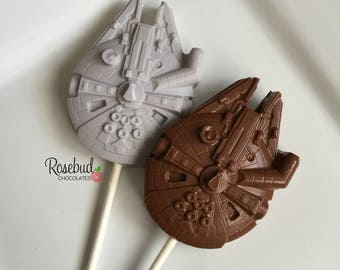 12 Millennium Falcon Chocolate Lollipops Candy Birthday Party Favors Star Wars Ship