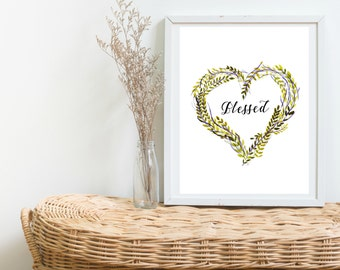 Blessed Yellow and Purple Heart Leaves Printable Wall Art - Instant Downloadable 8x11 Print