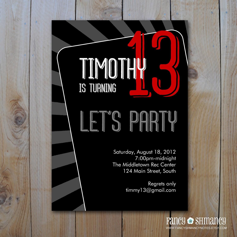 Teen Boy\'s Birthday Invitation / Let\'s Party /