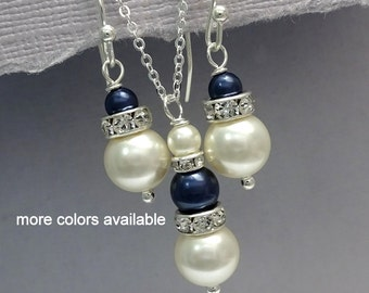 Navy Jewelry, Dark Blue Jewelry Set, Mother of the Bride Jewelry, Maid of Honor Gift Jewelry Set, Dark Blue Necklace, Dark Blue Earrings
