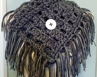 Crochet button cowl, button cowl, crochet cowl, cowl