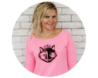Cat Wearing a Crown 3/4 Sleeve Sweatshirt, Neon Hot Pink, Family Pet, Princess Kitten, Queen Kitty Hand Screen-Printed Fall and Winter Shirt