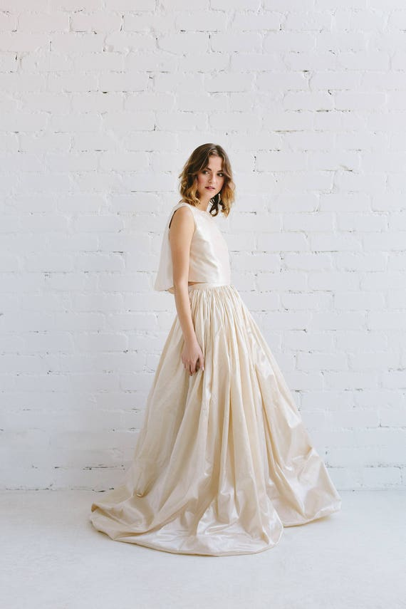 Silk Wedding Dress Two Piece Wedding Dress Crop Top