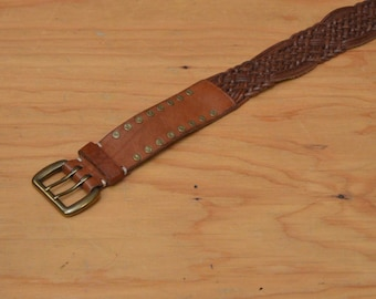 Vintage 70's Belt Brown Leather Woven Brass Studded Detail One Size Fits Most