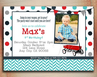 Little Red Wagon First Birthday, Red Wagon Birthday Invitation, Wagon First Birthday, Red Wagon Invitation, Little Red Wagon 1st Birthday