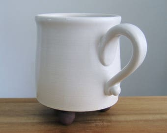 Modern Footed Mug, Large Pottery Coffee Mug in White, 14 oz. Ceramic Cup, Hand Thrown Stoneware