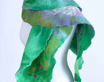 Green felted shawl with meadow theme - patterned nuno felt shawl for women, merino wool & silk, feminine and romantic handmade shawl [S118]