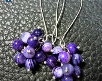Very Cute Purple Striated Agate Plated Silver Cluster Earrings