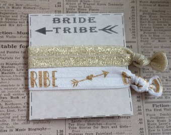 White Gold BRIDE TRIBE Hair Ties, bridal shower favors, hair tie favors, gold bachelorette favors, beautiful hair ties, wedding, gold favors