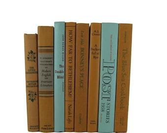 Fall Decor, Tan Brown Blue  Decorative Books, Vintage Wedding Decor , Vintage Book Decor , Home Decor , Photo Prop , Bookshelf Decor