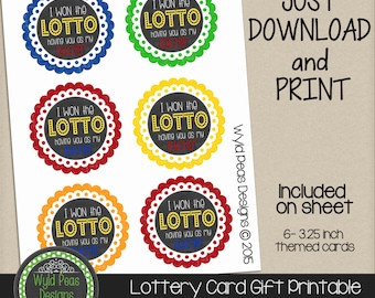 PRINTABLE Lottery gift card, Lotto Gift, Printable PDF, jpeg, 8.5 x 11 printable, Pinterest, Lotto card, lottery, teacher gift, birthday