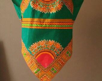 Green African dashiki print shirt