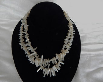 1940 White Natural Coral Necklace - Double Strand