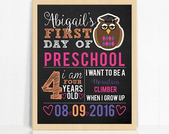First Day of School Sign - Printable 8x10 First Day of School Photo Prop - Girly Owl First Day of School Printable Sign