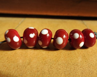 Red dotty beads, handmade lampwork beads