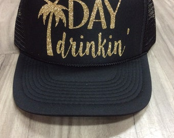 Day Drinkin' Palm Tree Trucker Hat Brunch River Lake Summer Trucker Hat Women's Trucker Hat Glitter Drinking Alcohol Party Hat