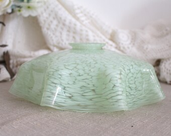 Vintage French Green Speckled Glass Ceiling Lampshade