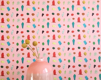 Removable Wallpaper // Gem Belushi Pink // Adheres to walls and shelves // Fully removable