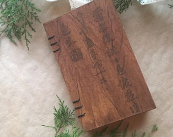 Coptic Bound Journal Sketchbook - Brown handtextured calligraphy