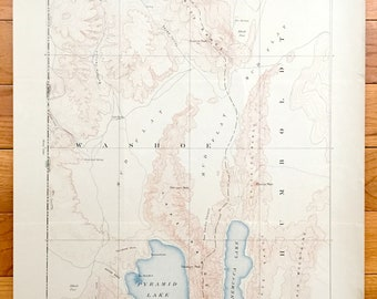 Antique Pyramid Lake, Nevada 1894 US Geological Survey Topographic Map – Washoe County, Humboldt County, Granite Range, Winnemucca Lake