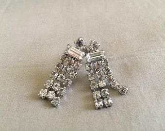 Vintage Silver Rhinestone Dangle Earrings