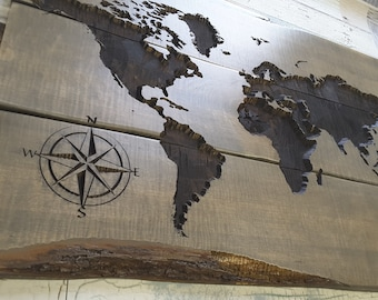 Perfect World Map CARVED Wood Sign. Rustic And Gorgeous!