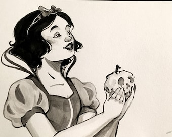 Snow White Poison Apple Original Ink Drawing