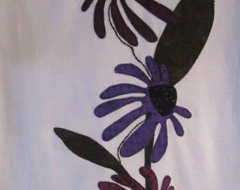 Purple Cone Flowers on a White Medium T'shirt