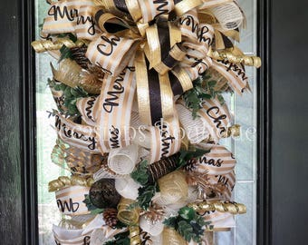Christmas Door Swag, Christmas Wreath, Holiday Wreath, Christmas Decoration, Front door Wreath, Wreath for Door, Ivory and Gold Christmas