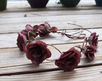 Mauve/Deep Purple Flower Crown
