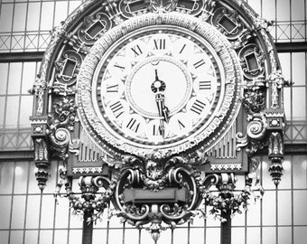 Ornate Clock of Musee d'Orsay, INSTANT DOWNLOAD IMAGE, black white vintage style, 5x7 or 8x10
