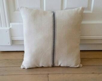 Feedsack Pillow   Blue Striped Pillow   Farmhouse Pillows   Farmhouse Decor Rustic Country   Couch Pillows   Accent Pillows   Farmhouse