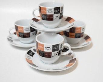 "Vintage Set of 4 Casa Elite ""Home Collections"" Espresso/Demitasse Cups"